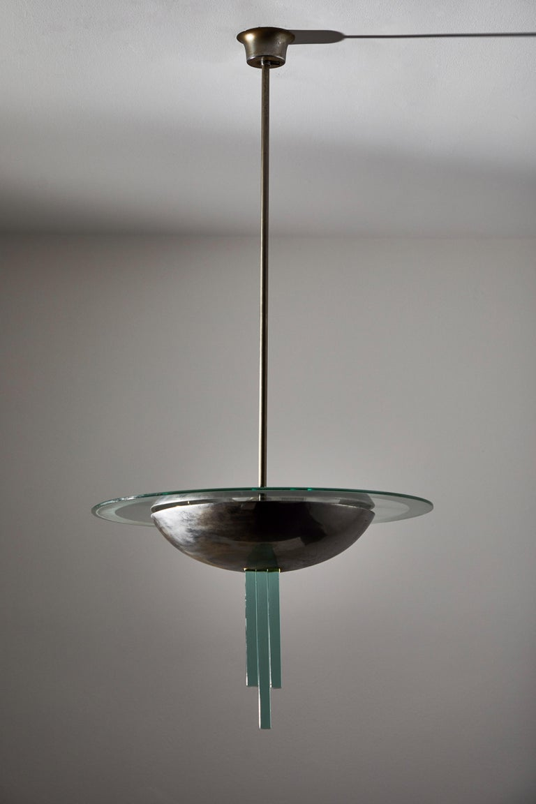 Steel Chandelier Attributed to Pietro Chiesa for Fontana Arte For Sale