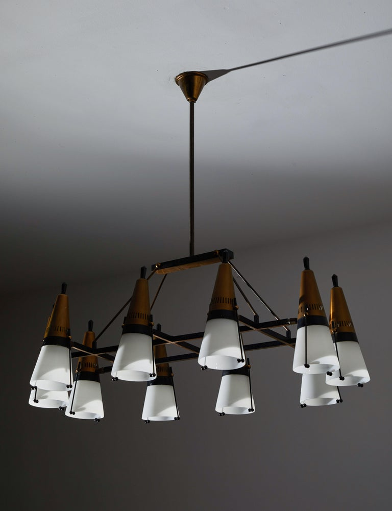 Enameled Chandelier by Lamperti For Sale