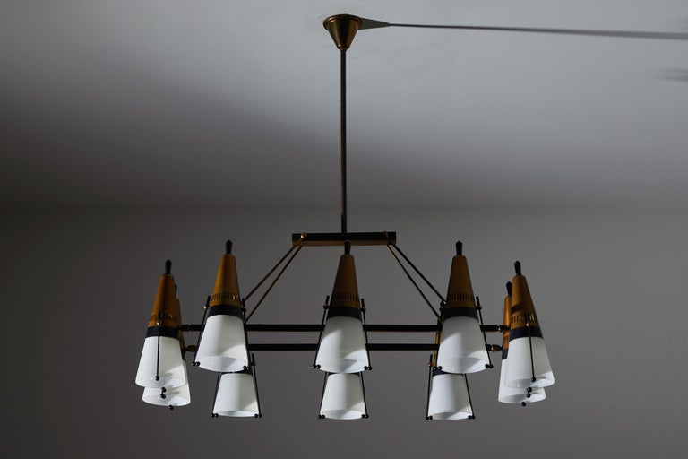 Metal Chandelier by Lamperti For Sale