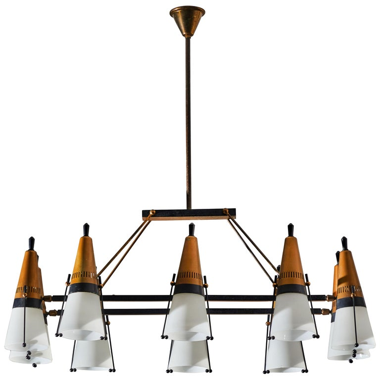 Chandelier by Lamperti For Sale