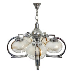 Chandelier by Mazzega in Chrome and Murano Glass, Italy, 1970s