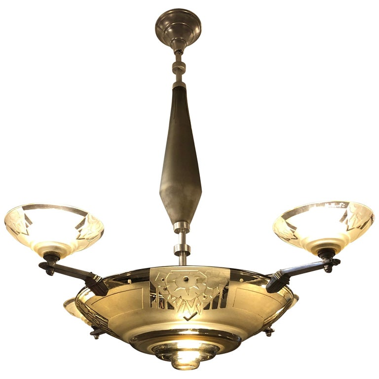 Chandelier by Muller Frères, 1930 For Sale