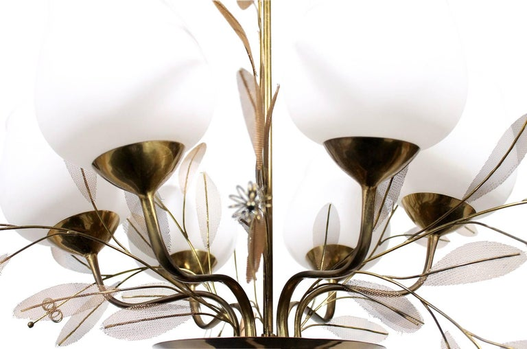 Brass Chandelier by Paavo Tynell for Taito Oy For Sale