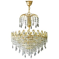Chandelier by Palwa Gold-Plated Brass Crystal Drops, Midcentury 1960s, Germany