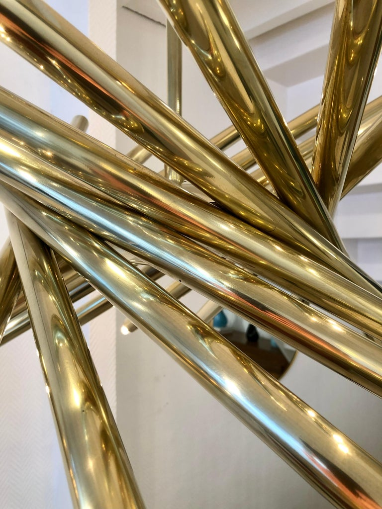 Brass Chandelier by Stilnovo, 1950 For Sale