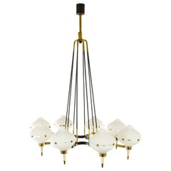 Chandelier in Metal, Brass and Glass, attributed to Stilnovo, circa 1958