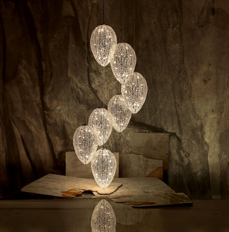 Modern Chandelier Cluster 7 Eggs Medium 1 Lamps, Chrome Finish, Arabesque Style, Italy For Sale