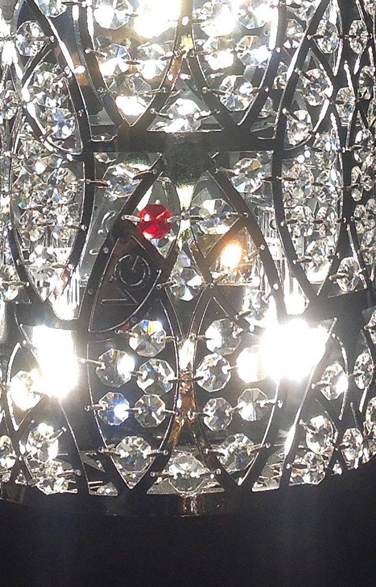 Chandelier Cluster 7 Eggs Medium 2 Lamps, Chrome Finish, Arabesque Style, Italy In New Condition For Sale In Quinto di Treviso, Treviso