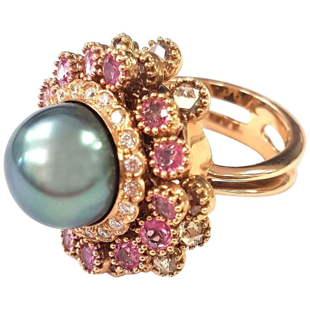 Chandelier Cocktail Ring with Sapphires, Diamonds and Tahitian Pearl in 18K Gold