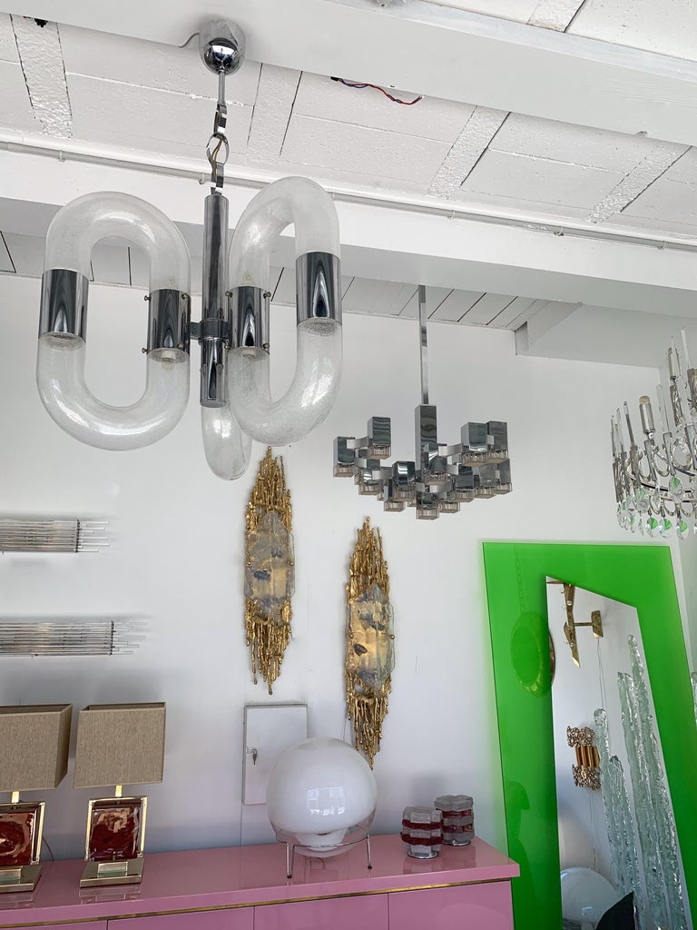Chandelier Cubic by Sciolari, Italy, 1970s For Sale 3