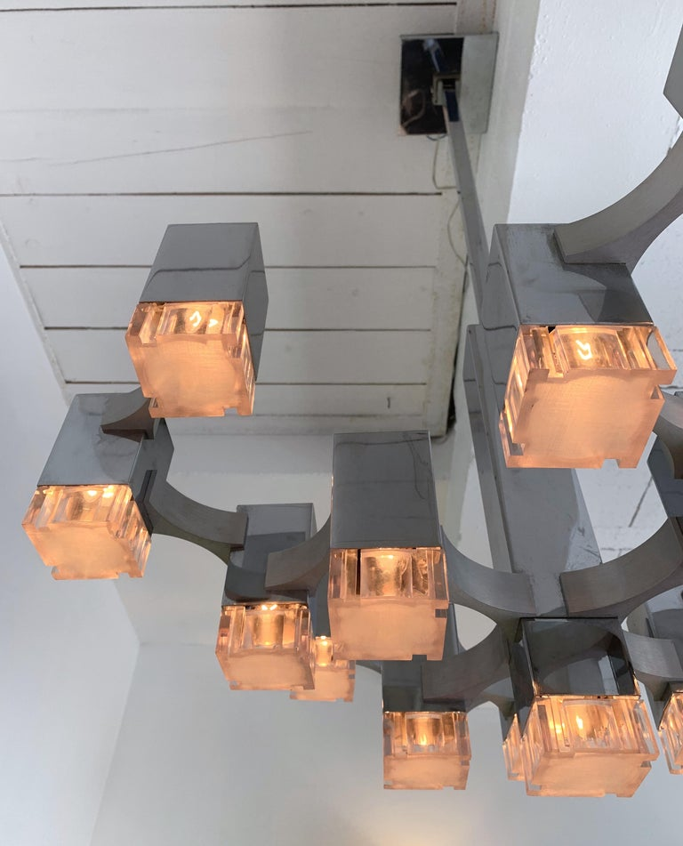 Late 20th Century Chandelier Cubic by Sciolari, Italy, 1970s For Sale
