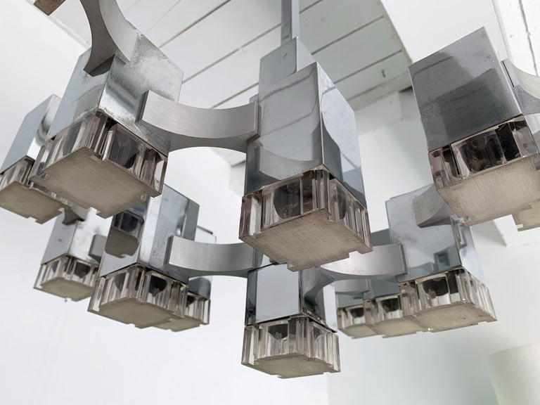 Chandelier Cubic by Sciolari, Italy, 1970s For Sale 1