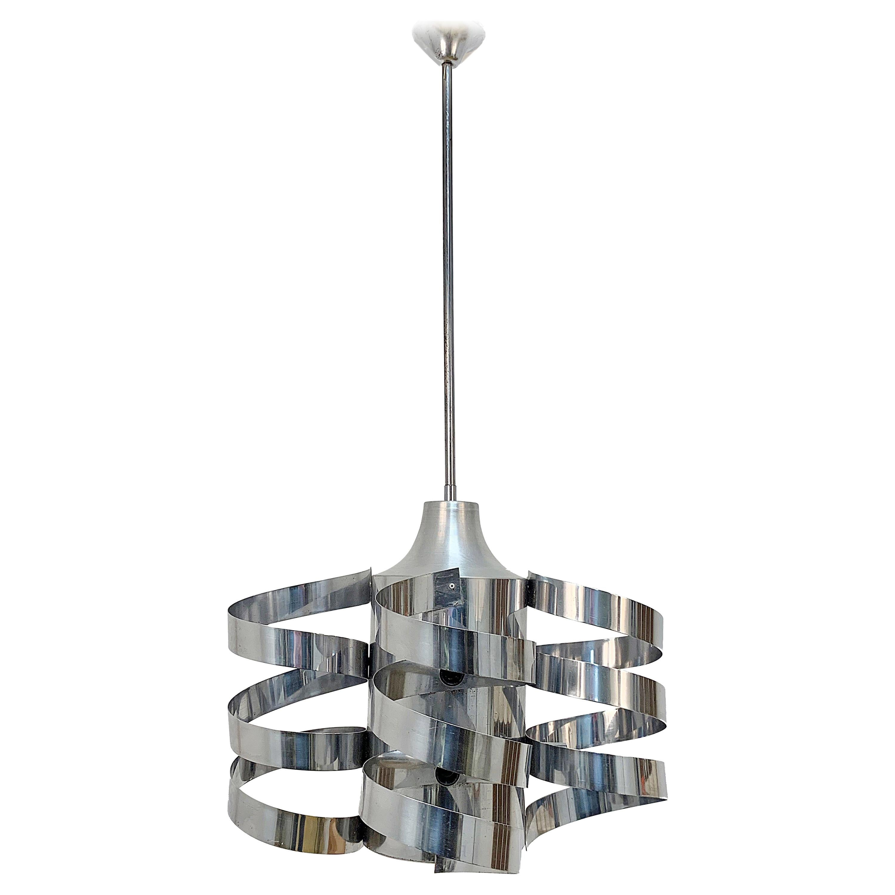 Chandelier Cyclone, Steel Chrome and Aluminum, Attributed to Sauze for Sciolari
