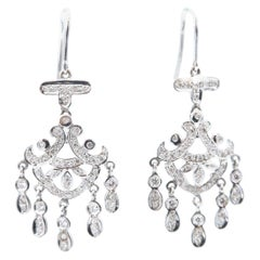 Chandelier Diamond 18 Karat White Gold Dangle Hook Earrings
