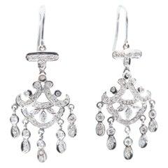 Chandelier Diamond 18 Karat White Gold Dangle Hook Earrings