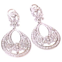 Chandelier Diamond Earrings 18 Karat White Gold