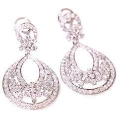 Chandelier Diamond Earrings 18 Karat White Gold