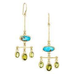 Chandelier Earring with Persian Turquoise and Peridot