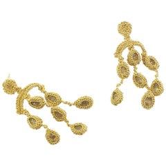 Chandelier Earrings Gold 18 Karat Aquamarine Classic Handmade Art Jewelry Unique