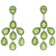 Chandelier Earrings Margherita Burgener Diamond Peridot 18 Karat Gold, Italy