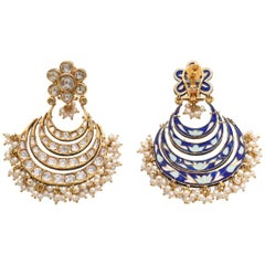Chandelier Earrings with Diamond and Intricate Enamel Handcrafted in 18K Gold
