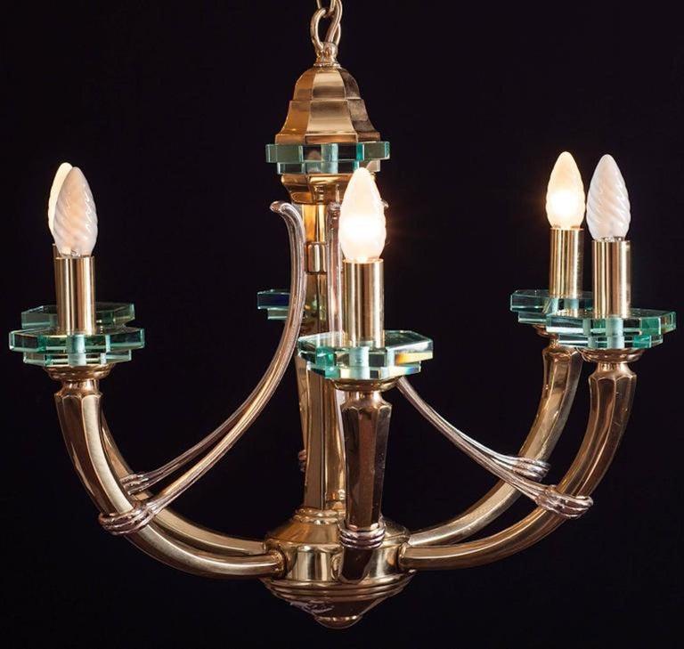 Brass Chandelier Fontana Arte Style, 1960s For Sale