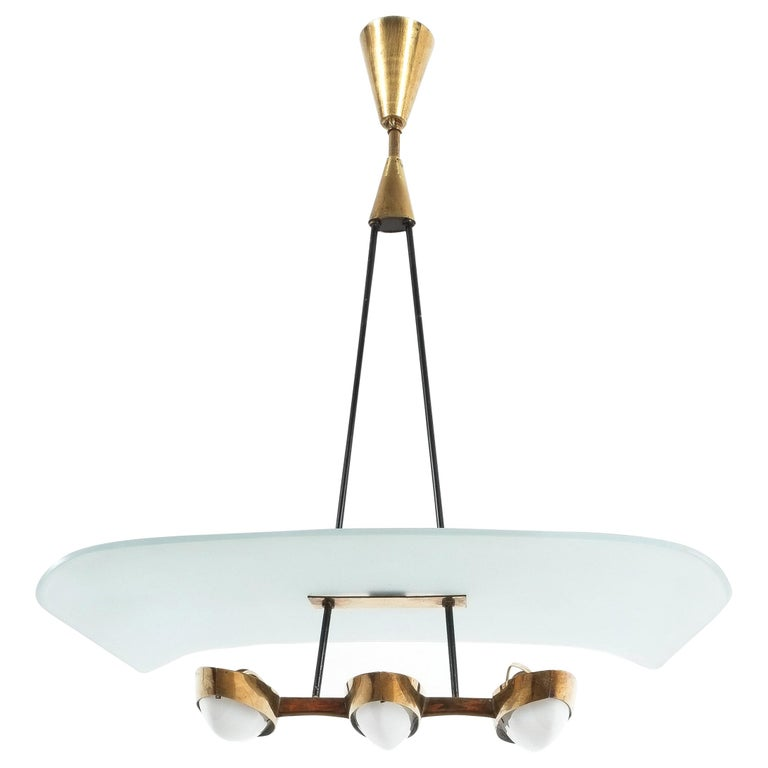 Chandelier from Frosted Glass and Brass Attributed to Stilnovo Italy, circa 1954 For Sale