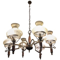Chandelier from the 1960s Six Lights Wood Metal Glass Italian