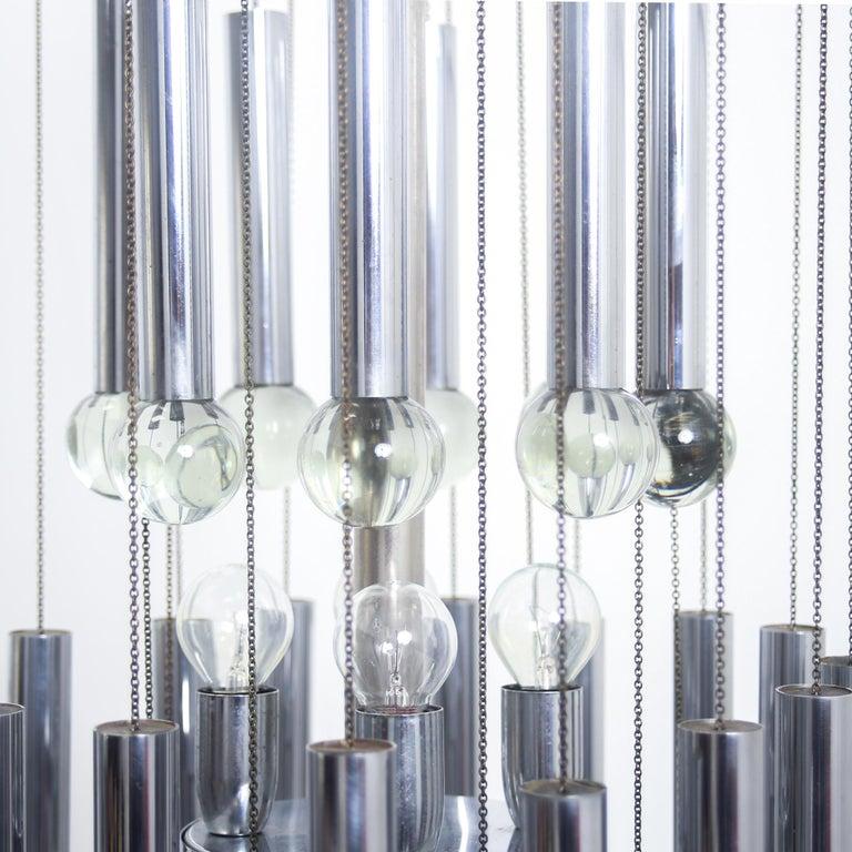 Mid-Century Modern Italian Mid century Modern Chrome and Glass Chandelier By Gaetano Sciolari, 1970 For Sale