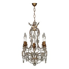 Chandelier Gilded Wood Glass, Italy, 20th Century