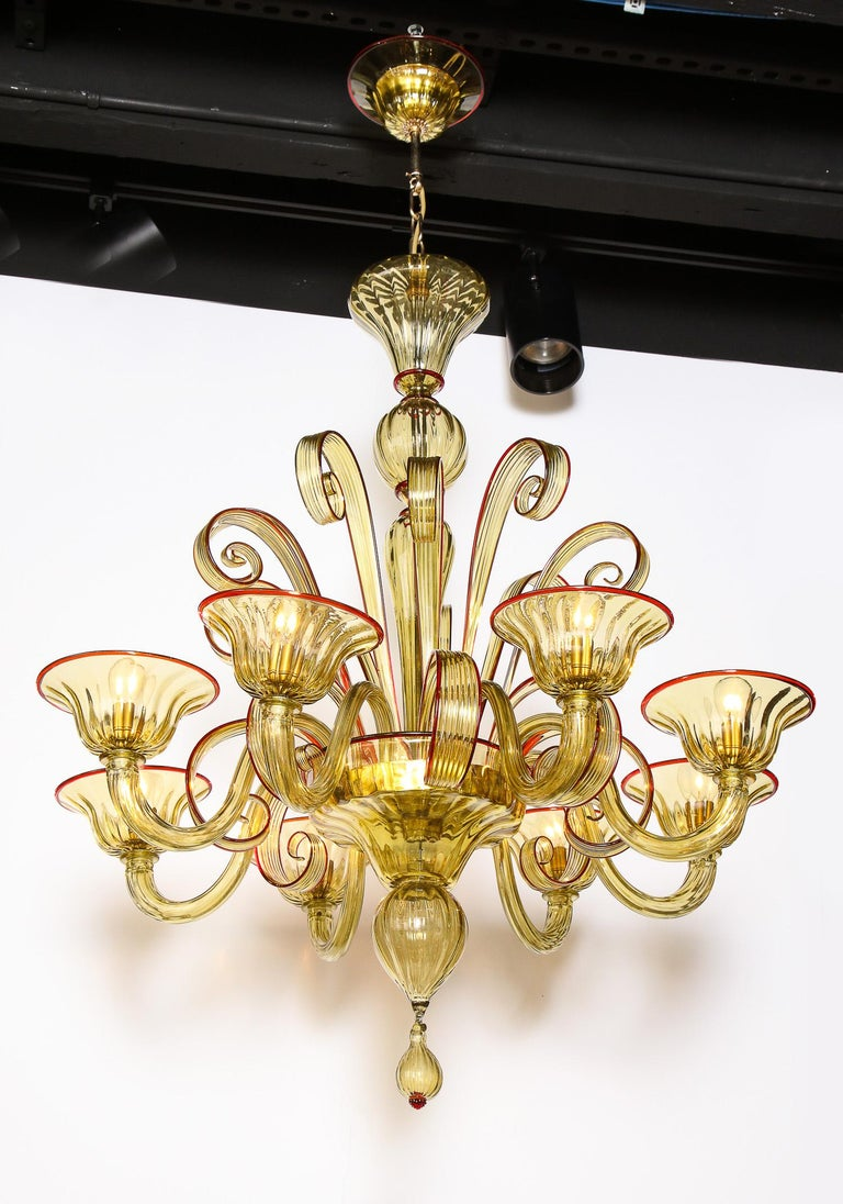Art Nouveau Venetian Gold Glass Chandelier with Red Details, Italy, 8 Arms For Sale