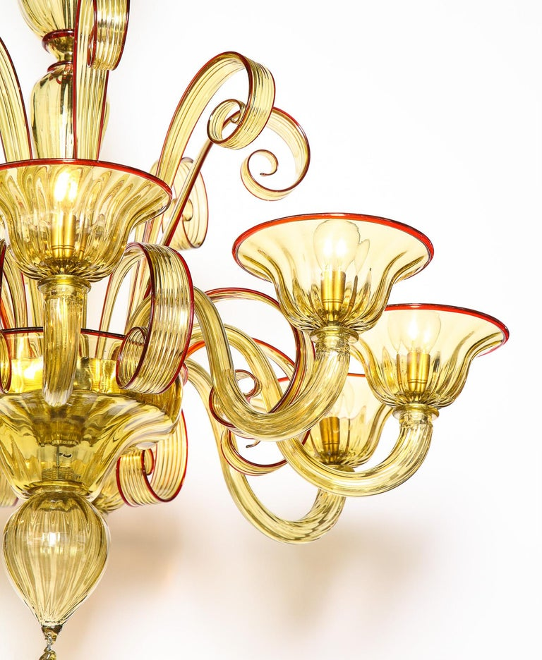 Art Glass Venetian Gold Glass Chandelier with Red Details, Italy, 8 Arms For Sale