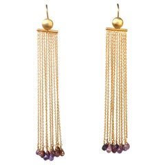 Chandelier Gold-Plated Fringe Briolè Tourmaline Drops Earring