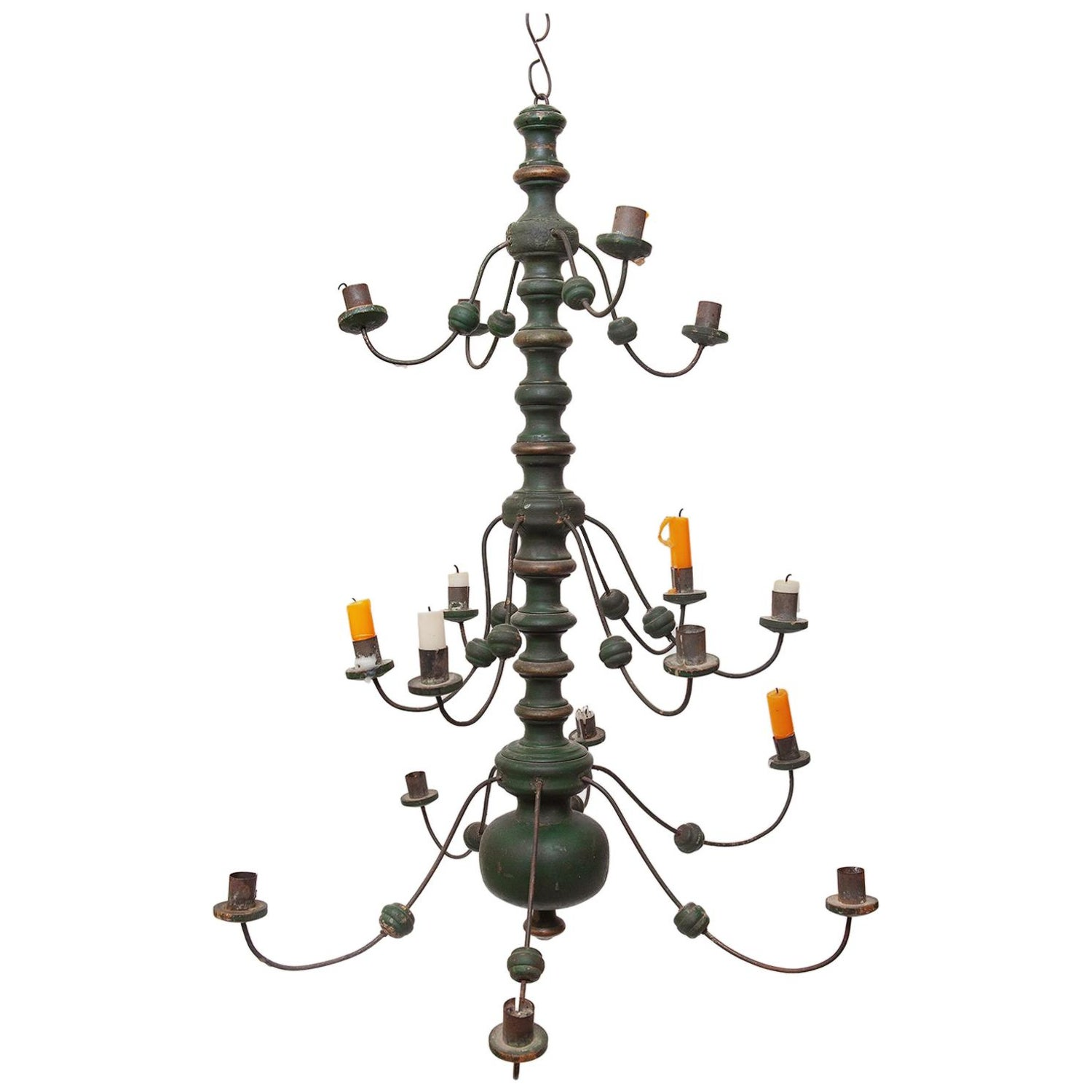 Chandelier Green Painted Gilded Iron Dutch 16 Branch Folk Vernacular