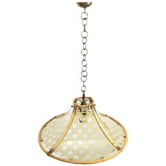 Chandelier in Bamboo, Glass and Rattan, Metal Pendant, Italy, 1960s