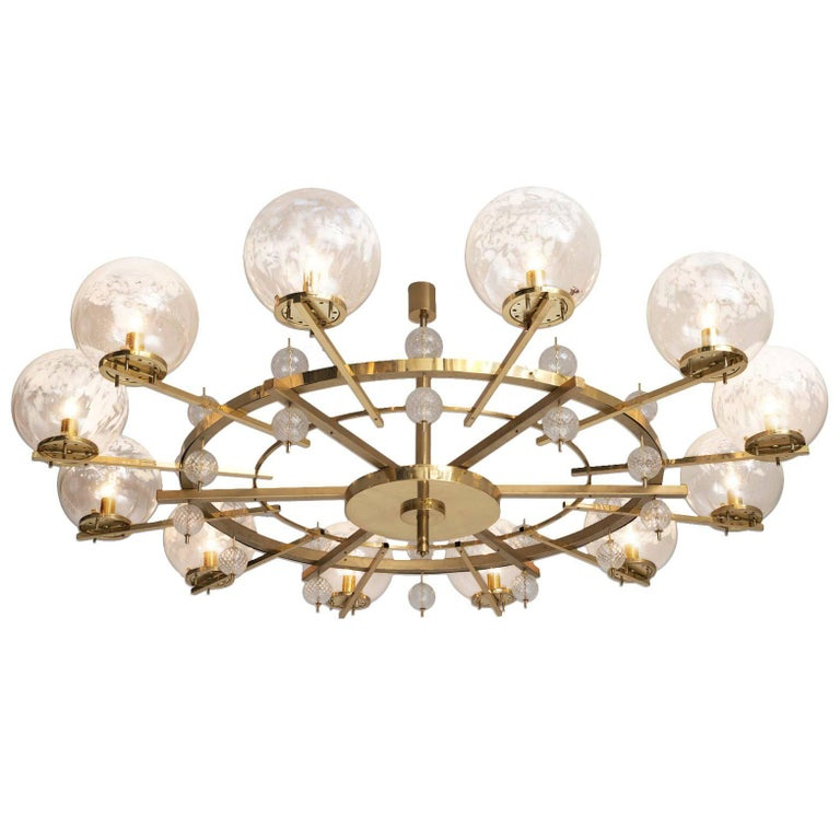 Chandelier in Brass and Art-Glass Spheres For Sale