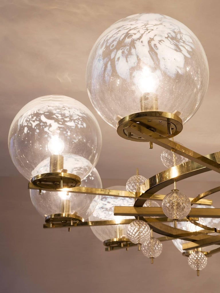 European Chandelier in Brass and Art-Glass Spheres For Sale