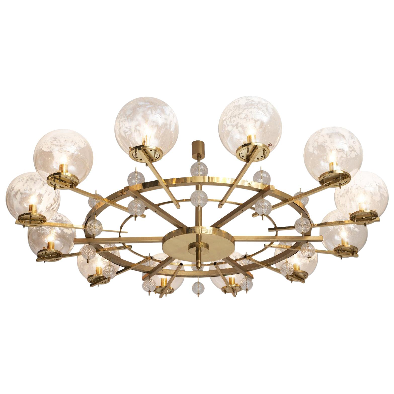 Chandelier in Brass and Art-Glass Spheres