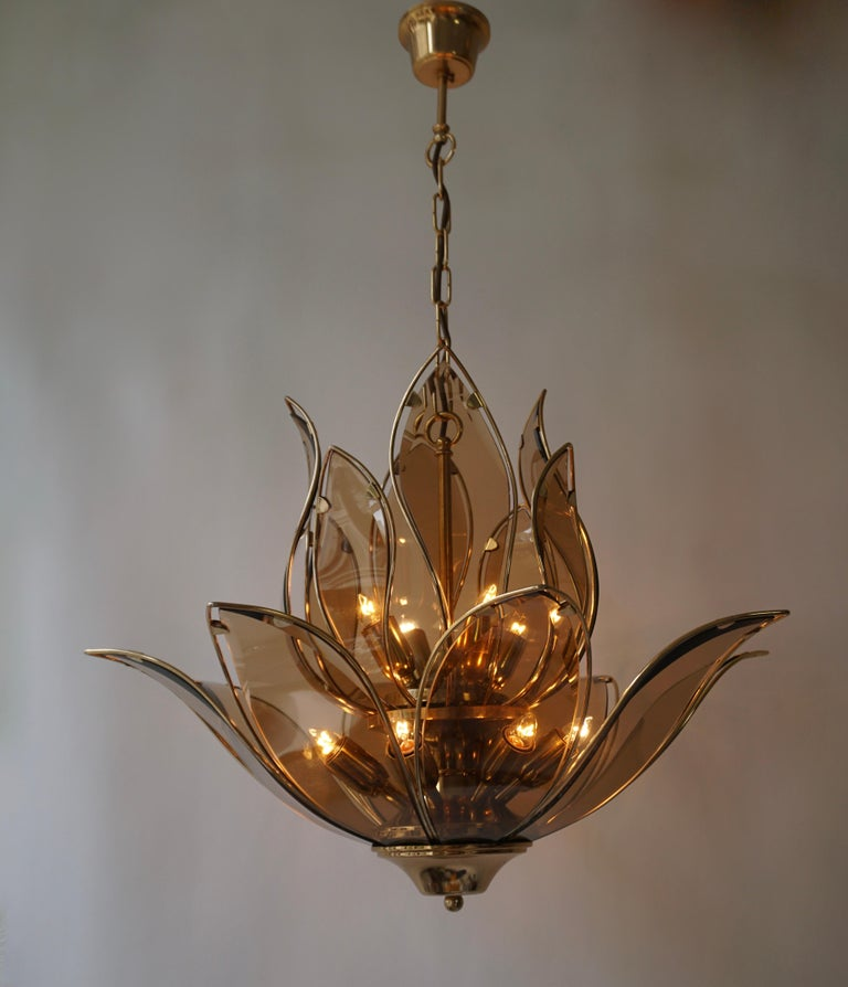 Chandelier in Brass and Glass For Sale 9