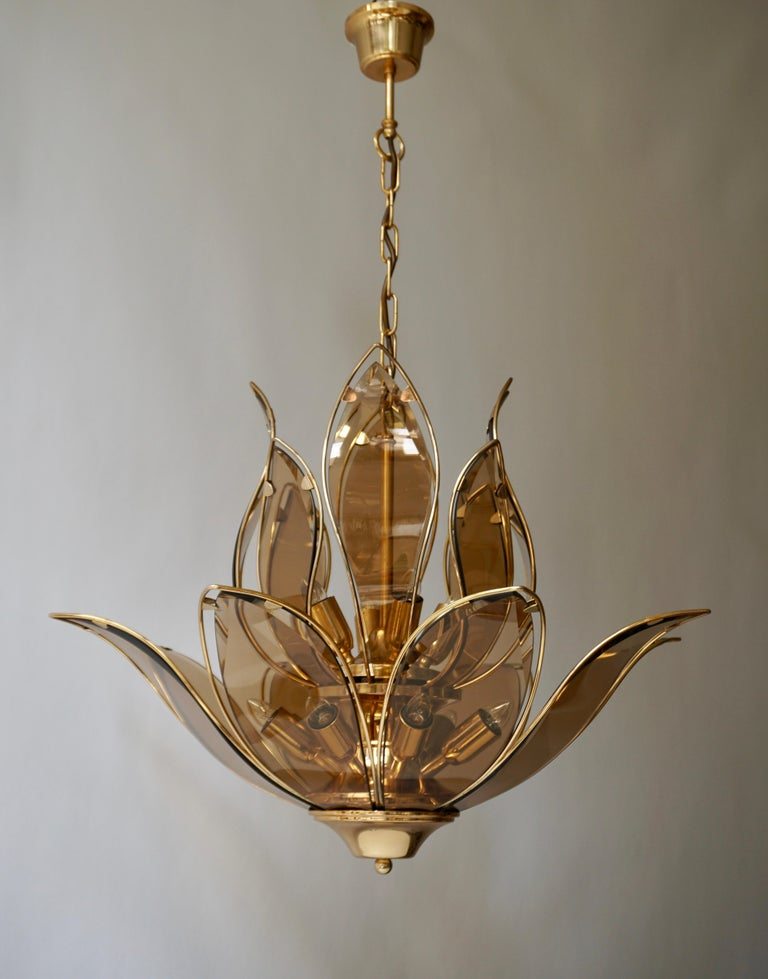 An outstanding and highly elegant brass and Murano glass chandelier in lotus flower shape of very good quality. This chandelier dates from the 1970s and is Italian by origin. 