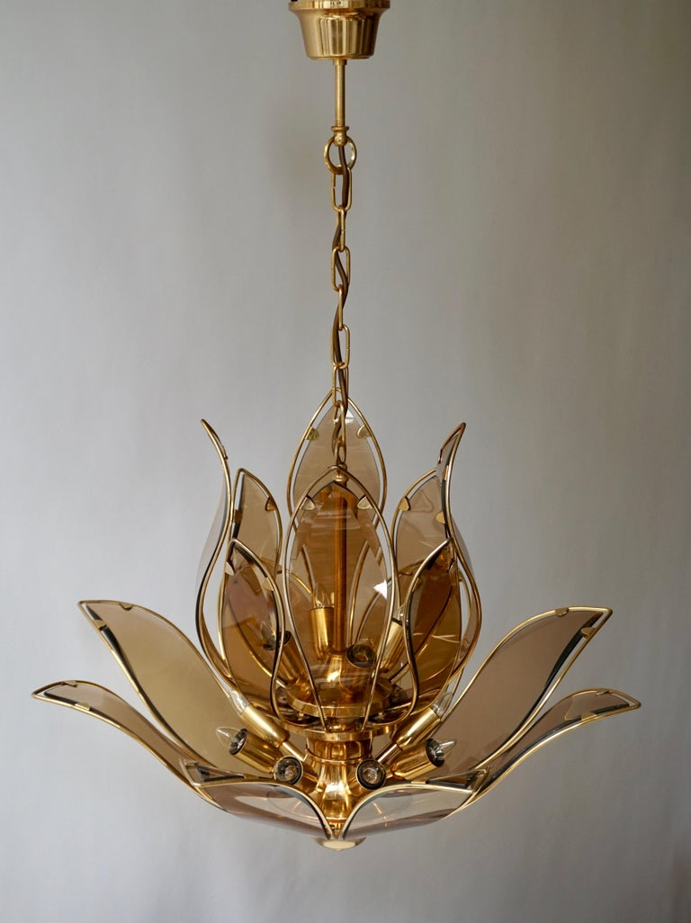 Hollywood Regency Chandelier in Brass and Glass For Sale