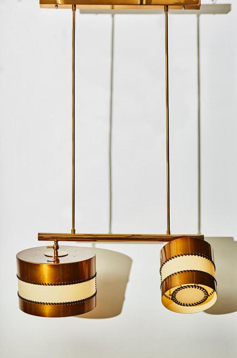 Modern Chandelier in Brass and Parchment by Diego Mardegan for Glustin Luminaires For Sale