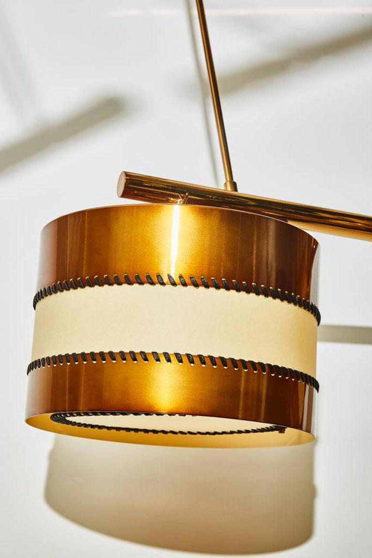 Italian Chandelier in Brass and Parchment by Diego Mardegan for Glustin Luminaires For Sale
