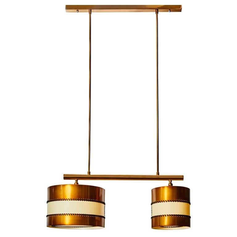 Chandelier in Brass and Parchment by Diego Mardegan for Glustin Luminaires For Sale