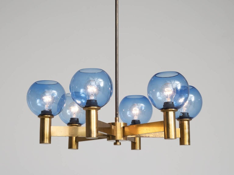 Chandelier, in glass and brass, Sweden, 1960s. 