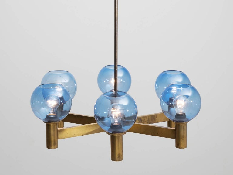 Mid-Century Modern Chandelier in Brass with Blue Colored Glass Shades For Sale