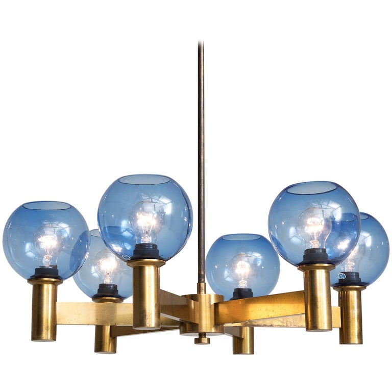 Chandelier in Brass with Blue Colored Glass Shades For Sale