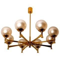 Chandelier in Brass with Opaline Brass in the Style of Sciolari