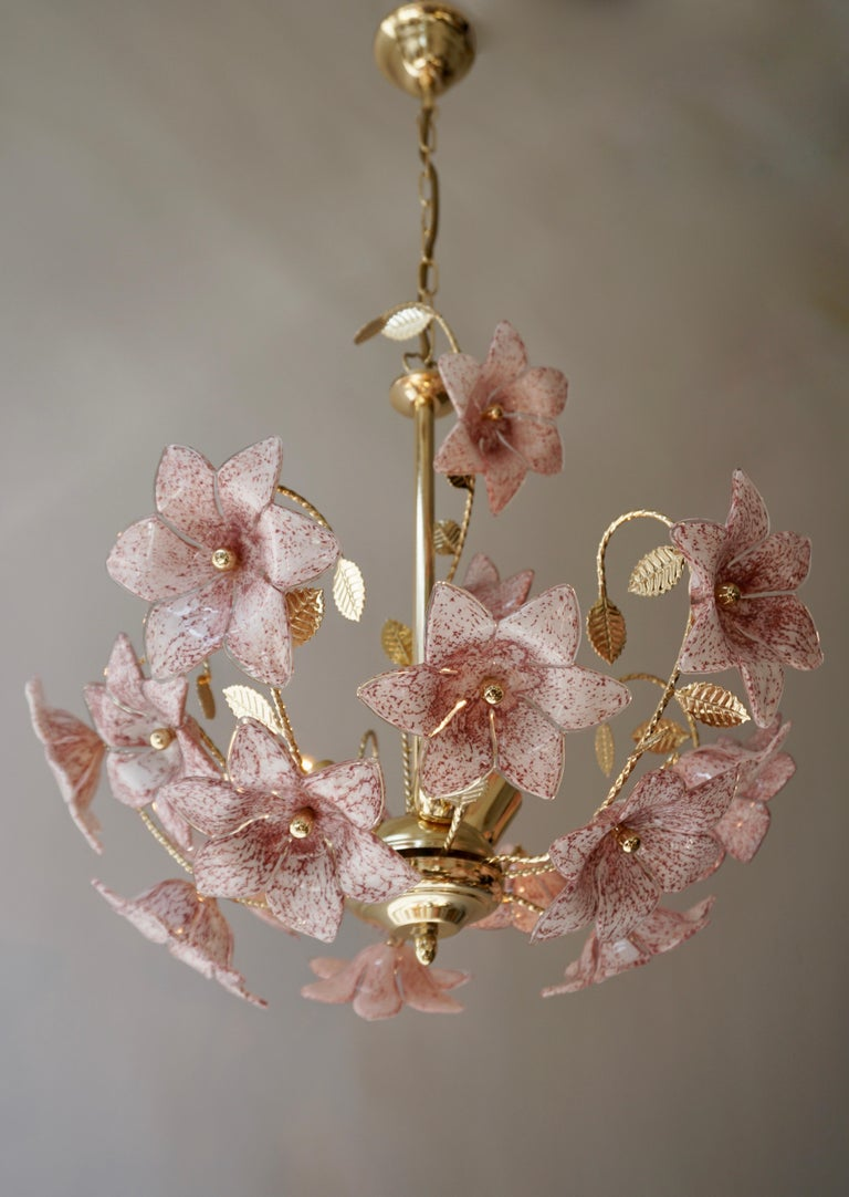 Italian Chandelier in Brass with Pink Murano Glass Flowers For Sale