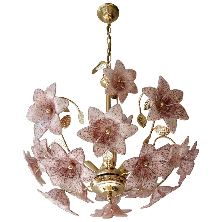 Chandelier in Brass with Pink Murano Glass Flowers For Sale
